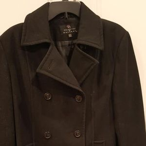 Collection by Gallery Black wool peacoat Medium